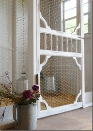 vintage style flyscreen as chicken coup door