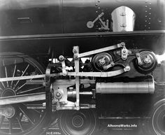 This vintage PRR photo shows a close up of Young's rotary valve gear fitted to PRR 1092 E6sa 4-4-2. This engine was a 1912 product of the Juniata Shops.