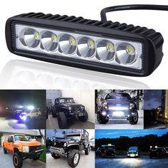 1pcs 6 inch 18W LED Work Light Bar Lamp for Driving Truck Trailer Motorcycle SUV ATV OffRoad Car 12v 24v Flood Spot