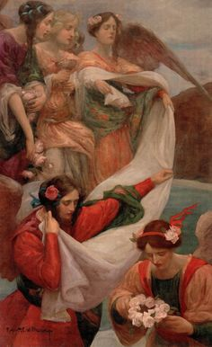 'Angels descending' 1897 Australian artist RUPERT BUNNY. From 'Rupert Bunny Artist in Paris'
