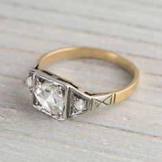 Image of .45 Carat Silver on Gold Pear Shape Rose Cut Vintage Engagement Ring
