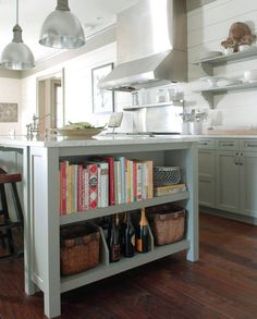 Storage solutions for cookbooks: Shelving under a kitchen island