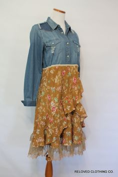 Reloved Clothing Size Medium Boho Shabby Floral Dress / Romantic Upcycled Denim Chambray Clothing / Earthy Clothes / Junior Women Fashion by RelovedClothingCo on Etsy