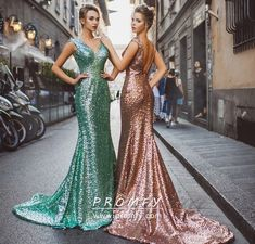 28579f9d3316d3 Sparkly Apple Green / Rose Gold Sequin Floor Length Mermaid Formal Dress