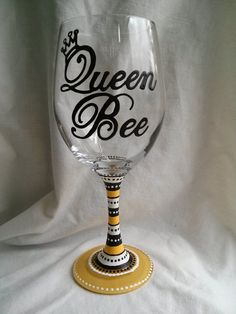 Queen Bee Hand Painted Wine Glass by PaintFromScratch on Etsy, $18.00