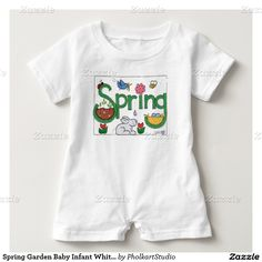 Spring Garden Baby Infant White Cotton Romper... © Patti Moore PholkartStudio