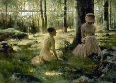 Beneath the birches - Annie and Berta Edelfelt, 1882. Albert Edelfelt (Finnish, 1854-1905).