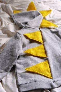 Dinosaur Hoodie: Cut diamond shape and sew directly onto hood and back