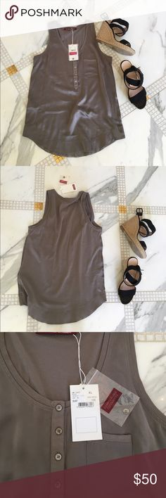 Grey tank Button front. Hemmed bottom. 100% cotton but has a silky texture. NWT/ never worn. Comes with extra button! French brand. Easy to match Comptoir des cottonniers Tops Tank Tops
