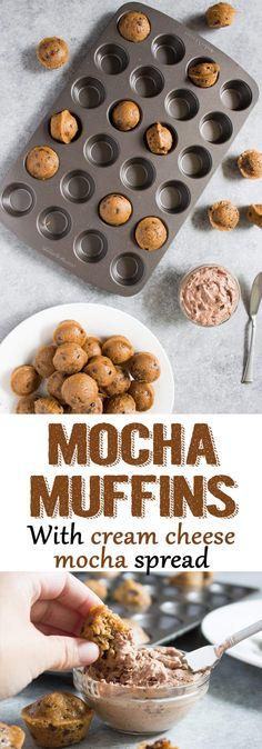 mini mocha muffins, mini muffins, chocolate muffins, blueberry muffins, coffee, coffee muffins, breakfast, dessert, easy, recipe, cream cheese, mocha spread, cream cheese spread