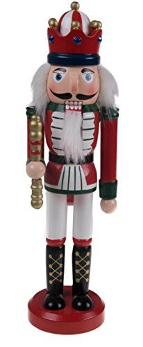 Wooden Nutcracker King with Scepter  10 Tall Red *** Click image for more details.