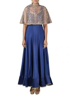 3e95a38371 18800 INR floor length designer gown with cape by Parul Gandhi at Ekatrra.  Floor length designer gown at Ekatrra.