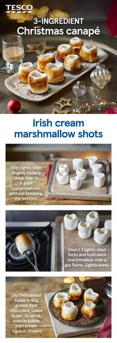 Toast the festive season or welcome in the New Year with these fun marshmallow shots. Toasted and dipped in chocolate, these giant marshmallows make a tasty edible glass for rich Irish cream liqueur. Give it a go and add a photo of your creation. Christmas Canapes, Christmas Party Food, Xmas Food, Christmas Treats, Christmas Baking, Christmas Entertaining, Irish Cream, Giant Marshmallows, Best Party Food