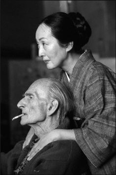 Balthus and his wife Setsuko photographed by Raphael Gaillarde, 1998, Rossinière, Switzerland.