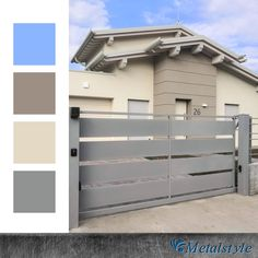 #beige #grey #colortrends2020 #palettecolori #palettecolors #design #minimaldesign #italianstyle #outdoordecor #artigianidelferro #ironwork #designinspiration #architecture #ringhiere #recinzioneferro #wroughtiron #blacksmith #instagood #portail #homeinspiration #cancello #cancellimoderni #casa #homedecor #ingresso #architecture #archistars #architecturelovers #archidaily #gardecorps House Fence Design, Wrought Iron Gates, Exterior House Colors, Facade Architecture, Facade House, Minimal Design, Terrazzo, Home Projects, Home Remodeling