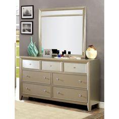 Furniture of America Paulina Silver Finish Top Mirror Panel 7-Drawer Dresser