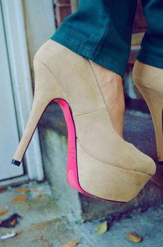 Just A Pop Of Pink Heels: Nude