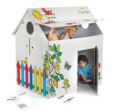 Cardboard playhouse- Highly Recommend, B loves his little house! Cardboard Playhouse, Arts And Crafts, Paper Crafts, Games For Toddlers, Playhouses, Play Spaces, Minnie Mouse Party, Escape Room, Kids Playing