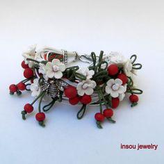 Cherry   White red  Wrap bracelet  Boho bracelet  by insoujewelry