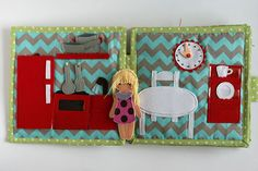 Travel fabric Dollhouse book with felt paper doll.  Very detailed dollhouse with lots of removable items (like food, kitchenware, clothes and many more), opening doors, lifting curtains, dressing... every girls dream :) The dollhouse will be interesting to children from age they understand pretend play (about two years old). Removable pieces are very small and not suitable for children under 3. You may order adjusted dollhouse for younger children with bigger removable pieces. PAGES Pages…