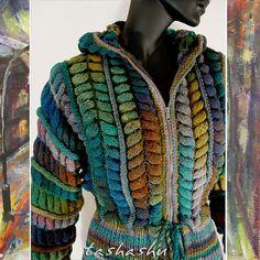 """Купить Куртка """"Нескучная осень"""" - абстрактный, вязаная куртка, noro, осенняя мода, осенняя куртка"""