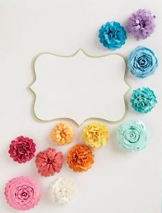 Tutorial on 3 types of paper flowers - LOVE the colors, too! Definitely giving these a try! #paper flowers #tutorial #rainbow