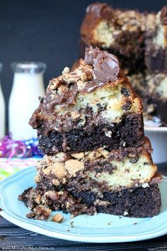 Chocolate Chip Cookie Cake Recipe - 4 layers including white chocolate chip cake, a chocolate milk chocolate chip cake, chocolate ganache and chocolate frosting plus loads of chocolate chip cookies! The ultimate dessert!