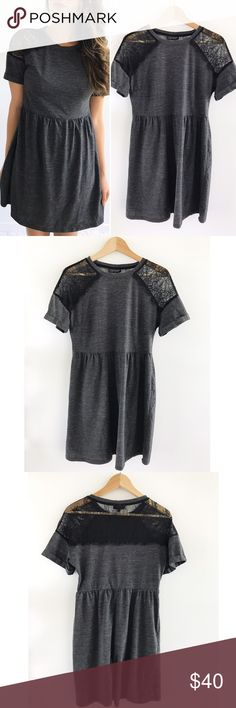 """Topshop Gray Babydoll Dress Topshop Gray Babydoll Dress! Super feminine and sweet! Comfortable and easy to wear. Pull over style. Lace shoulders. Cotton Polyester blend. Excellent condition. Chest-36"""" waist-31"""" hips-47"""" length-34"""" size 8. Topshop Dresses Mini"""