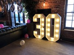 Light up number 30, marquee letters, 30th birthday '30' in Maidstone, Kent. loveletterskent.co.uk