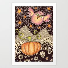 Fall Night Art Print by Kai-Zen Doodles - $13.52