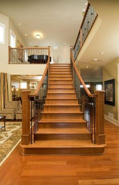 Upgrade your hardwood staircase with wrought iron spindles for a dramatic look.