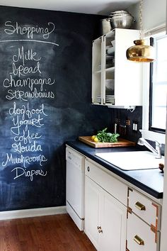 A chalkboard wall in your kitchen is a great place to write your grocery list or to share what is on the menu for dinner that night!