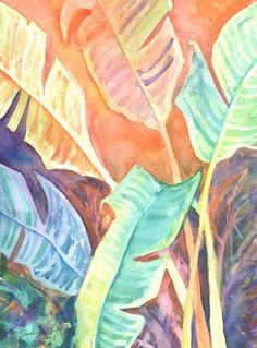 Tropical Leaves 2 Original Watercolor Painting of Tropical Foliage from Kauai Hawaii by Marionette  orange green yellow