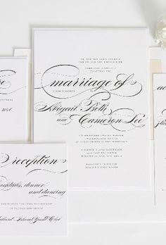 Wedding Invitation Suite with Large Elegant Script. Love the simplicity! #champagneweddinginvitations #shineweddinginvitations #largescript  #swashes