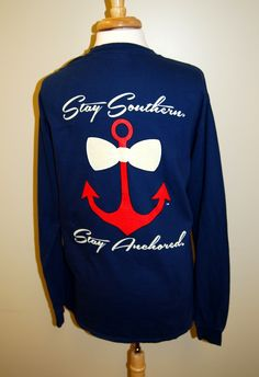 """Southern Anchor Long Sleeve Navy Tee ‹ """"Stay Southern - Stay Anchored"""""""