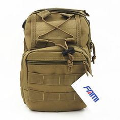 Hunting- FAMI Outdoor Tactical Shoulder Backpack, Military    Sport Bag Pack Daypack for Camping, Hiking, Trekking, Rover Sling - Tan -- Want additional info? Click on the image.