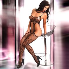 Black lace suspender bodystocking