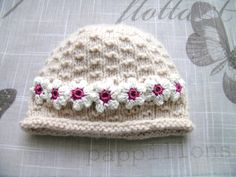 Handmade Baby girls HAT, for Newborn Girl, 0-6 Months, hand-knitted fancy pattern cream hat with 7 white crochet flowers, off white colour by ramutez on Etsy