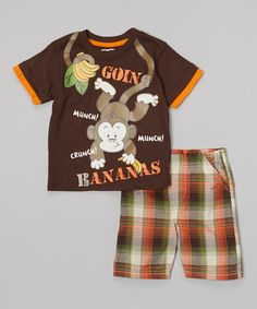 Loving this Brown 'Going Bananas' Tee & Plaid Shorts - Infant & Toddler on #zulily! #zulilyfinds