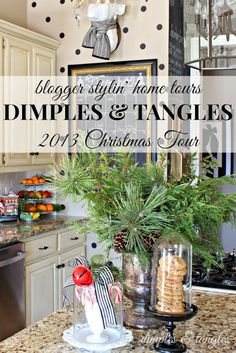 DIMPLES AND TANGLES CHRISTMAS TOUR {2013}   Love the polka dots.  Those would be easy to do.  Could even do with punched out circles I think that could be removed.      Did you know that if you cut out of fabric and dip in liquid starch, you can apply to walls and peel off later.