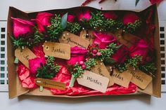 fuchsia boutonnieres, photo by Nicole Baas Photography http://ruffledblog.com/seasonal-autumn-wedding-in-new-england #grooms #flowers