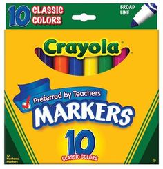 Crayola Classic Colors Broad Line 10 Markers In A Pack (Pack of 6) 60 Markers Total Crayola