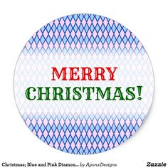 Blue and Pink Diamond Shape Pattern Classic Round Sticker created by AponxDesigns. Christmas Stickers, Shape Patterns, Diamond Shapes, Merry Christmas, Pink, Blue, Merry Little Christmas, Wish You Merry Christmas, Pink Hair