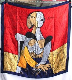 """Picasso Scarf 35"""" Square Art To Wear Polyester Pussy Bow Large Colorful #PeacockSilk #Scarf"""