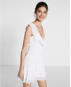 Express Lace-up Ruffle Fit And Flare Dress Dress Outfits, Fashion Dresses, Women's Dresses, Designer Plus Size Clothing, Express Dresses, Express Clothing, White Women, Ruffle Dress, Flare Dress