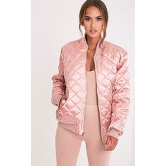 Wiktoria Mauve Satin Reversible Quilted Bomber ($19) ❤ liked on Polyvore featuring outerwear, jackets, purple, satin bomber jacket, satin jackets, sports jacket, pink quilted jacket and purple bomber jacket