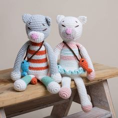 Hand crocheted cats go fishing