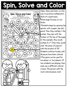 Why can't practicing multiplication facts be fun? Turn math into a game and have your students multiply with the Spin, Solve and Color NO PREP Packet! Math Multiplication Games, Fun Math, Maths, Kids Math, Math Enrichment, Math Intervention, Math Word Problems, Phonics Activities, Math Concepts