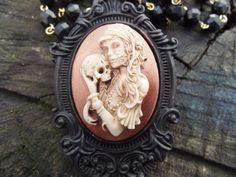 NEW Gypsy Voodoo Queen Copper Gothic Day of the Dead Cameo Victorian Necklace #Handmade #cameopendant