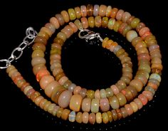"91CRTS 5to9MM 18"" ETHIOPIAN OPAL RONDELLE BEAUTIFUL  BEADS NECKLACE OBI3069 #OPALBEADSINDIA"
